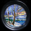 Arts & Crafts snow scene enamel on copper. C.1900.